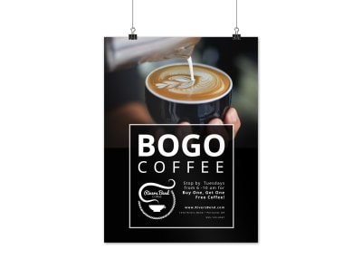 Black Coffee BOGO Poster Template