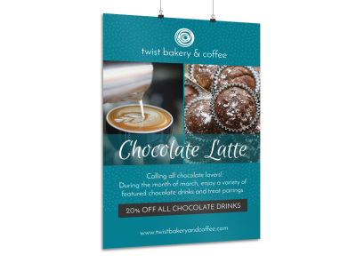 Chocolate Latte Coffee Poster Template preview