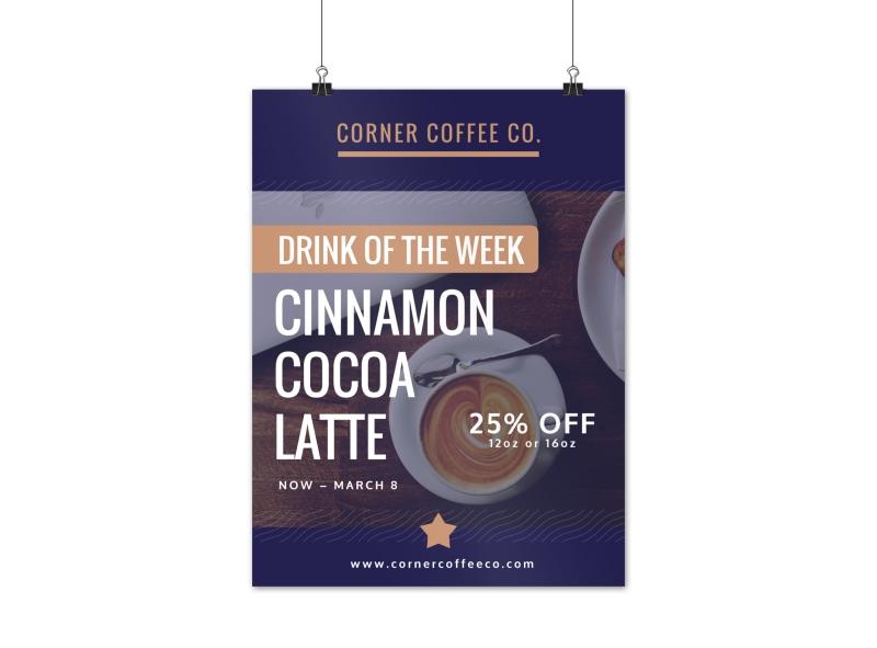 Cinnamon Cocoa Latte Coffee Poster Template
