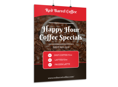 Coffee Happy Hour Poster Template preview