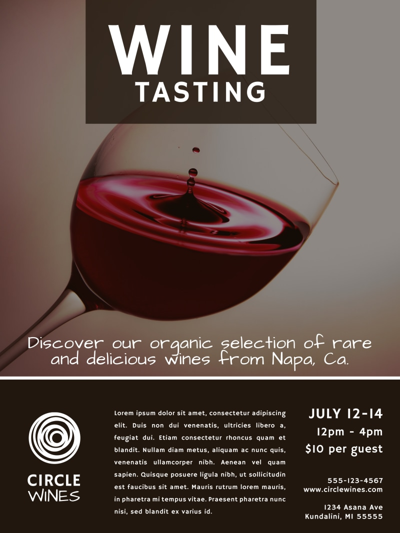 Classic Wine Tasting Poster Template Preview 2