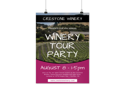 Wine Tour Party Poster Template preview