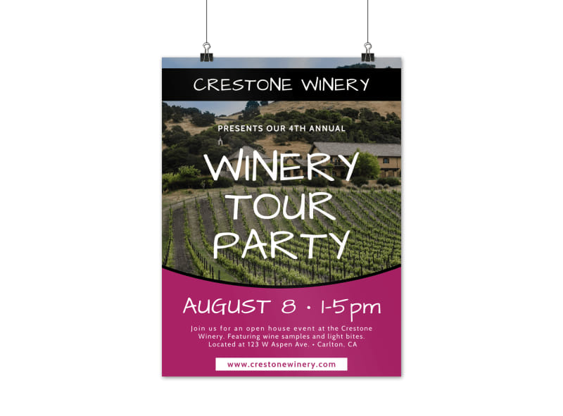 Wine Tour Party Poster Template