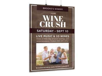 Wine Crush Festival Poster Template preview