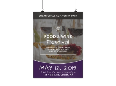 Food & Wine Festival Poster Template preview