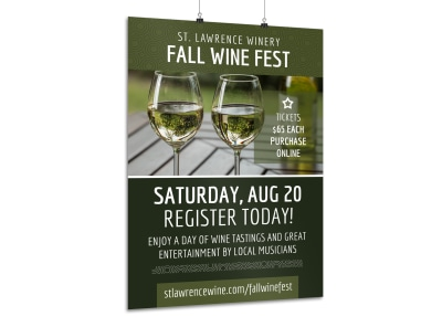 Fall Wine Festival Poster Template preview