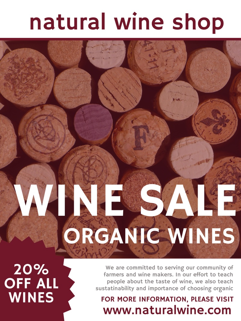 Natural Wine Sale Poster Template Preview 2