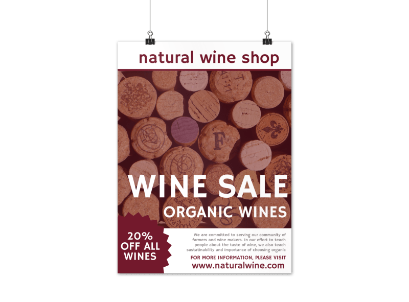 Natural Wine Sale Poster Template Preview 1