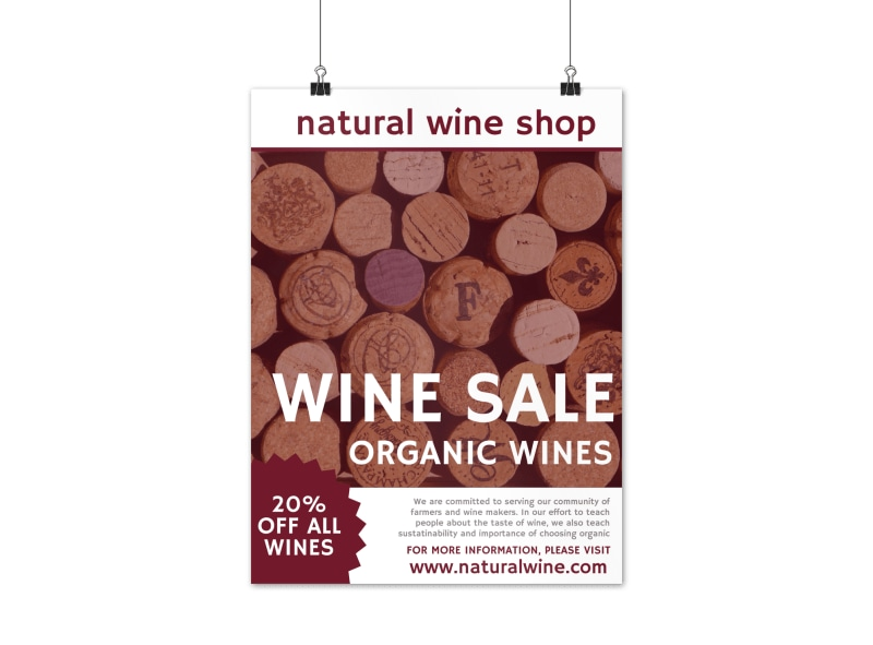 natural wine sale poster template mycreativeshop