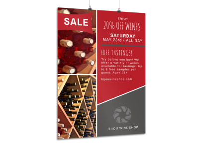 Wine Sale & Tasting Poster Template preview
