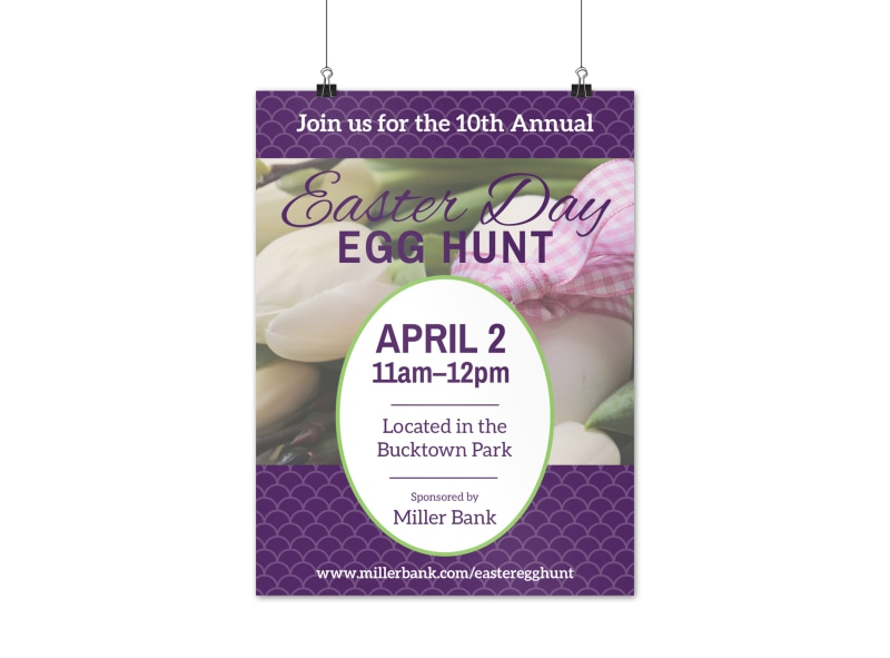 Purple Easter Egg Hunt Poster Template