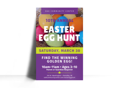 Annual Easter Egg Hunt Poster Template preview