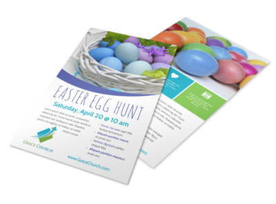 Easter Egg Hunt Church Flyer Template preview