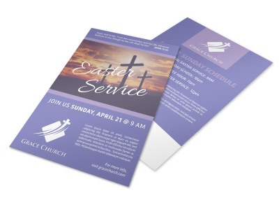Easter Service Church Flyer Template preview