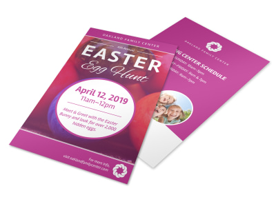 Pink Easter Egg Hunt Flyer Template preview