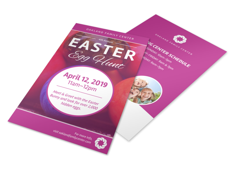 Pink Easter Egg Hunt Flyer Template  Mycreativeshop