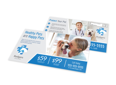 Healthy Pet Vet Service EDDM Postcard Template preview