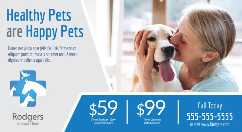 Healthy Pet Vet Service EDDM Postcard Template Preview 2