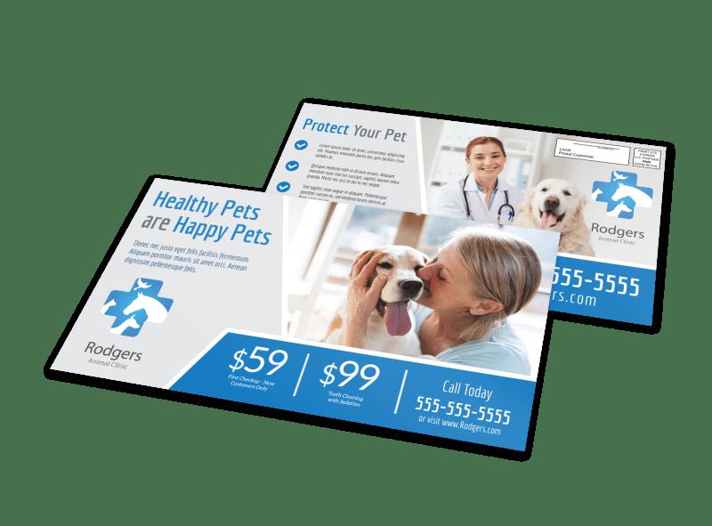 Healthy Pet Vet Service EDDM Postcard Template Preview 1