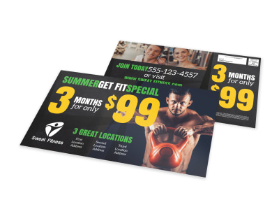 Summer Fitness Gym EDDM Postcard Template preview
