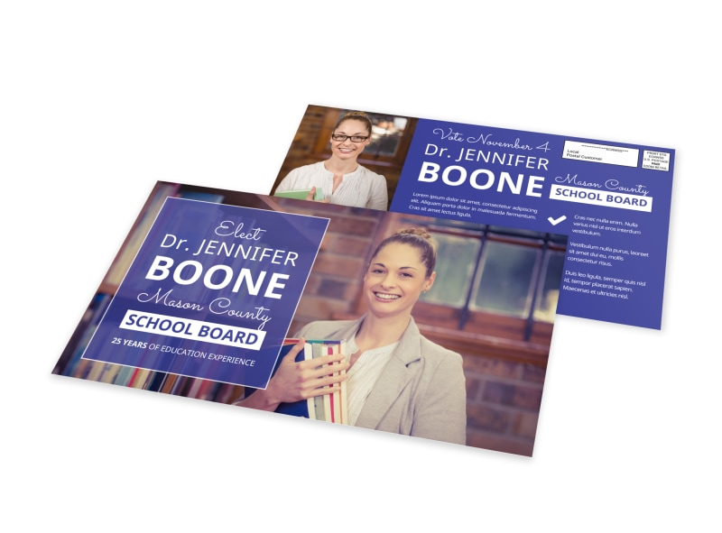School Board Election EDDM Postcard Template Preview 4