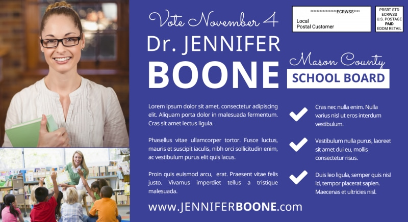 School Board Election EDDM Postcard Template Preview 3