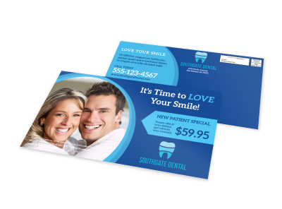 Blue Dental EDDM Postcard Template preview