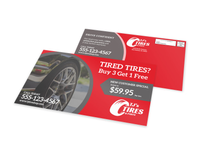 Automotive Tire EDDM Postcard Template preview