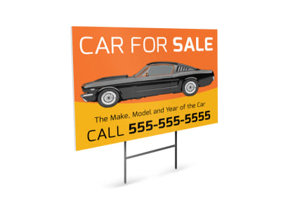 Custom Car For Sale Yard Sign Template preview