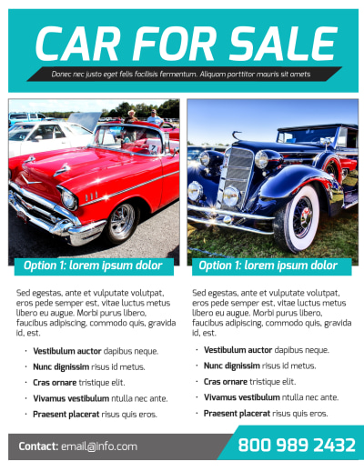 Classic Car For Sale Flyer Template Preview 2