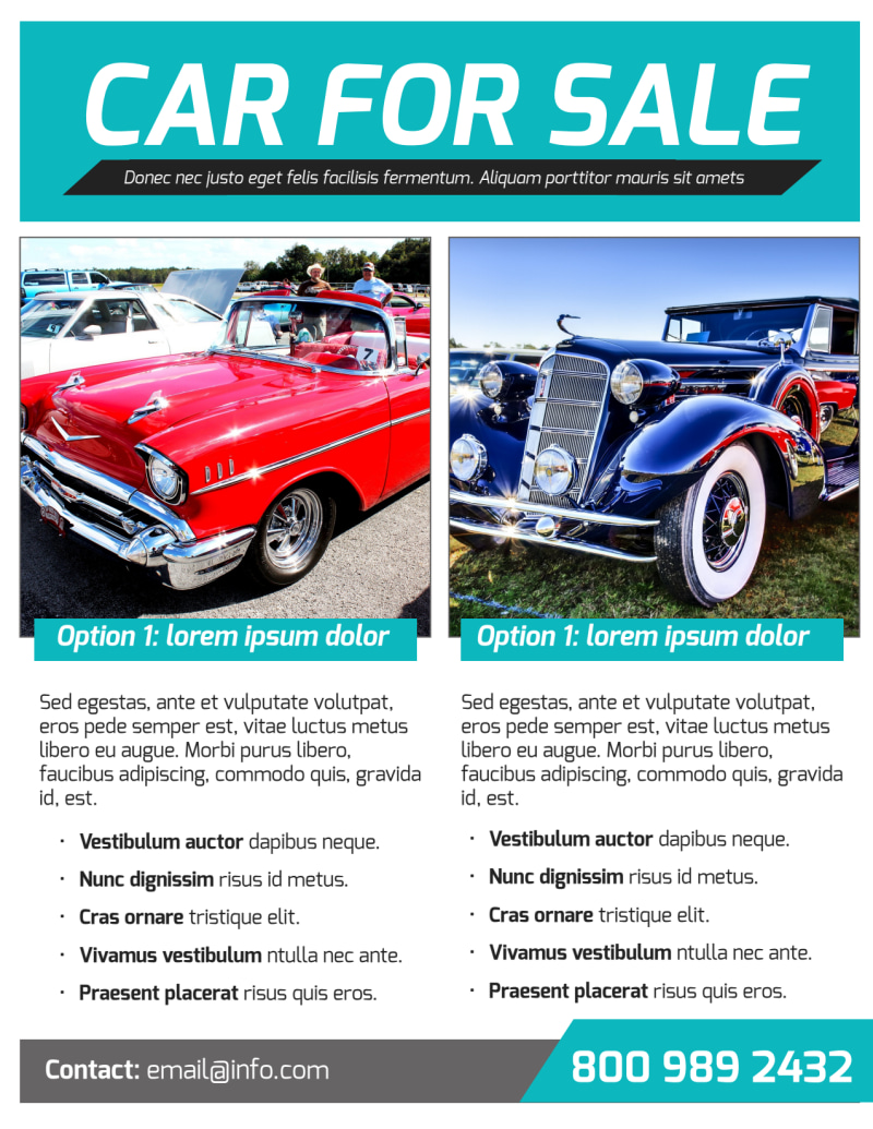 Classic Car For Sale Flyer Template Preview 3