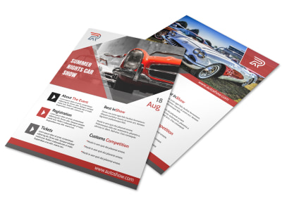Red Car Show Flyer Template preview