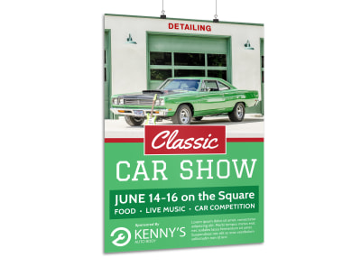Green Classic Car Show Poster Template preview