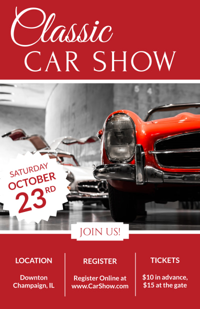 Classic Car Show Poster Template Preview 1