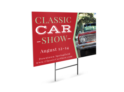 Classic Car Show Yard Sign Template preview