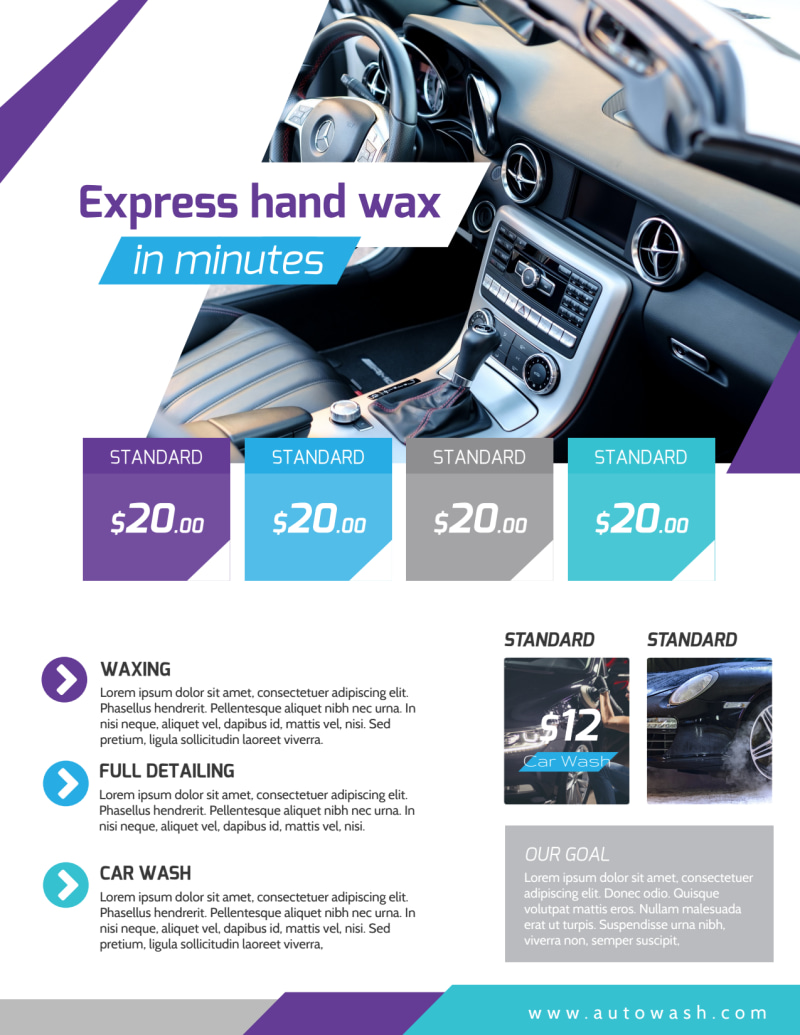 Car Wash Price List Flyer Template Preview 2