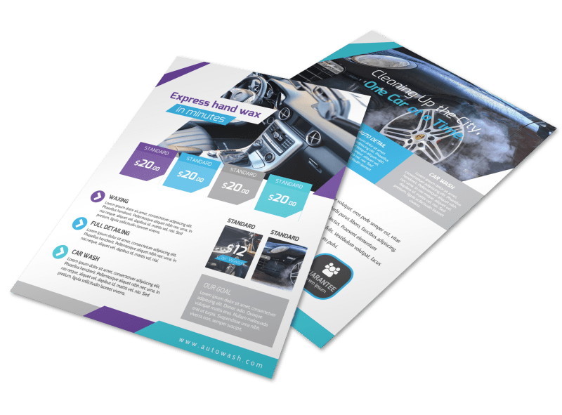 Car Wash Price List Flyer Template Preview 1