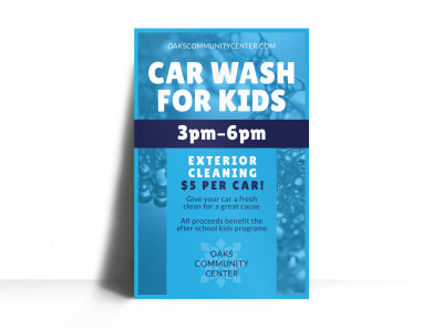 Car Wash For Kids Poster Template preview