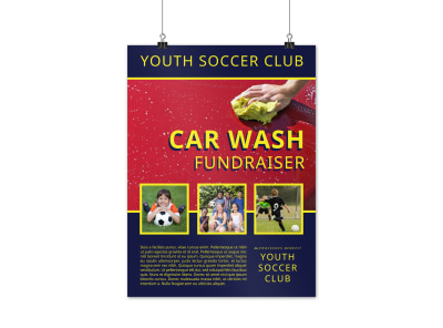 Youth Soccer Car Wash Fundraiser Poster Template preview