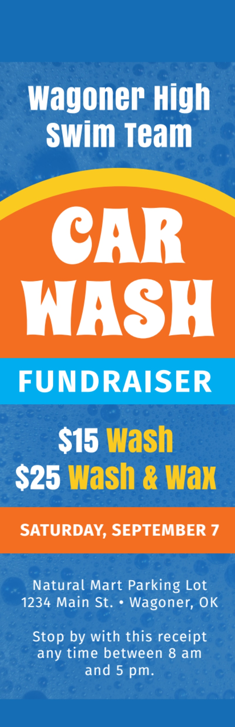 Blue Car Wash Fundraiser Ticket Template Preview 2