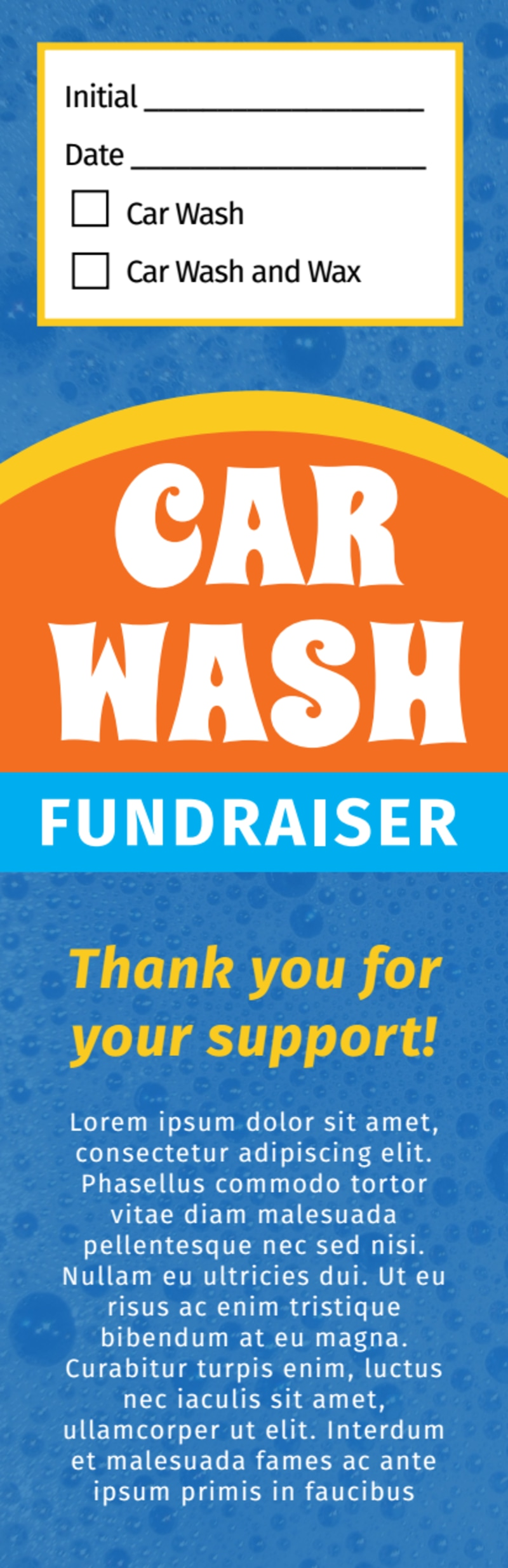 Blue Car Wash Fundraiser Ticket Template Preview 3