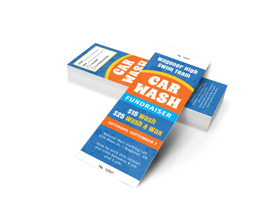 Blue Car Wash Fundraiser Ticket Template preview