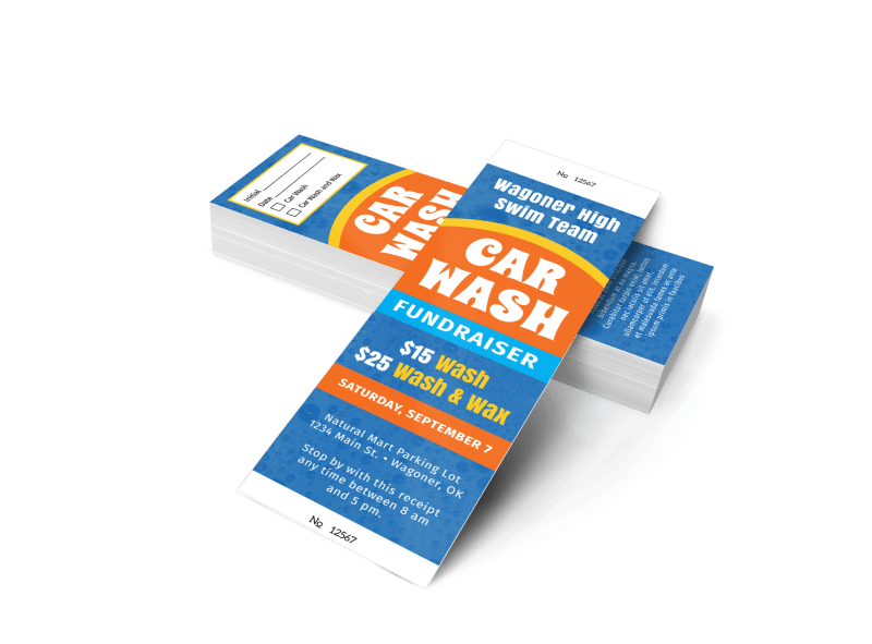 Blue Car Wash Fundraiser Ticket Template Preview 1