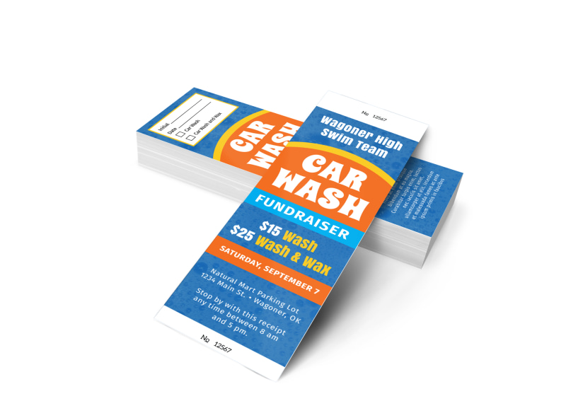 Blue Car Wash Fundraiser Ticket Template Preview 4