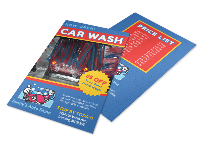 Blue Car Wash Flyer Template Preview 1