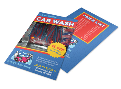 Blue Car Wash Flyer Template preview