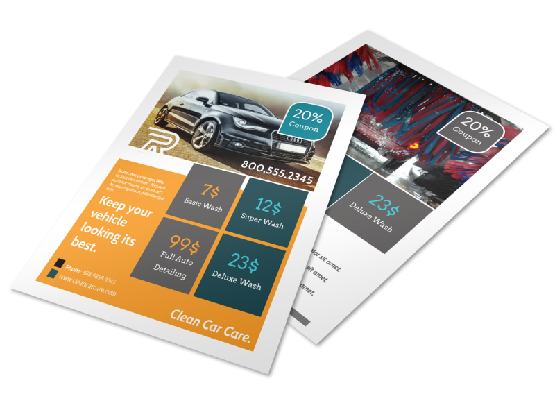 car wash pricing flyer template mycreativeshop