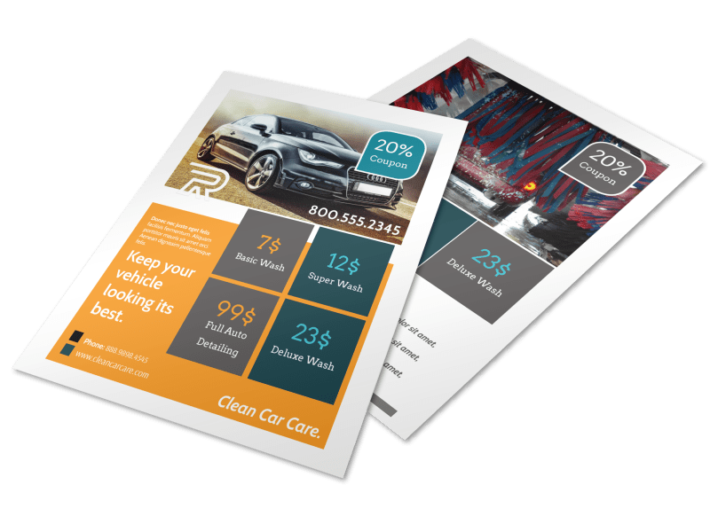 Car Wash Pricing Flyer Template Preview 1