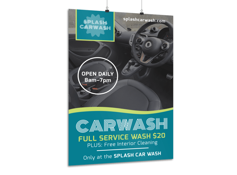 Full Service Car Wash Poster Template Preview 1