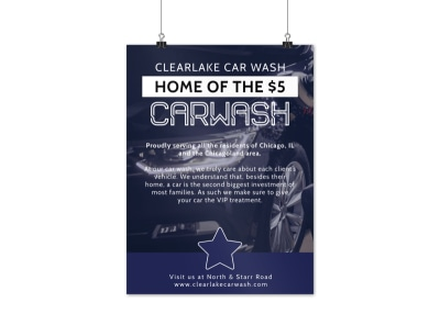 Clean Car Wash Poster Template preview